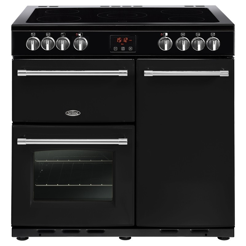 Kitchen Doors Uckfield: Belling Farmhouse 90cm Ceramic Range Cooker Black From