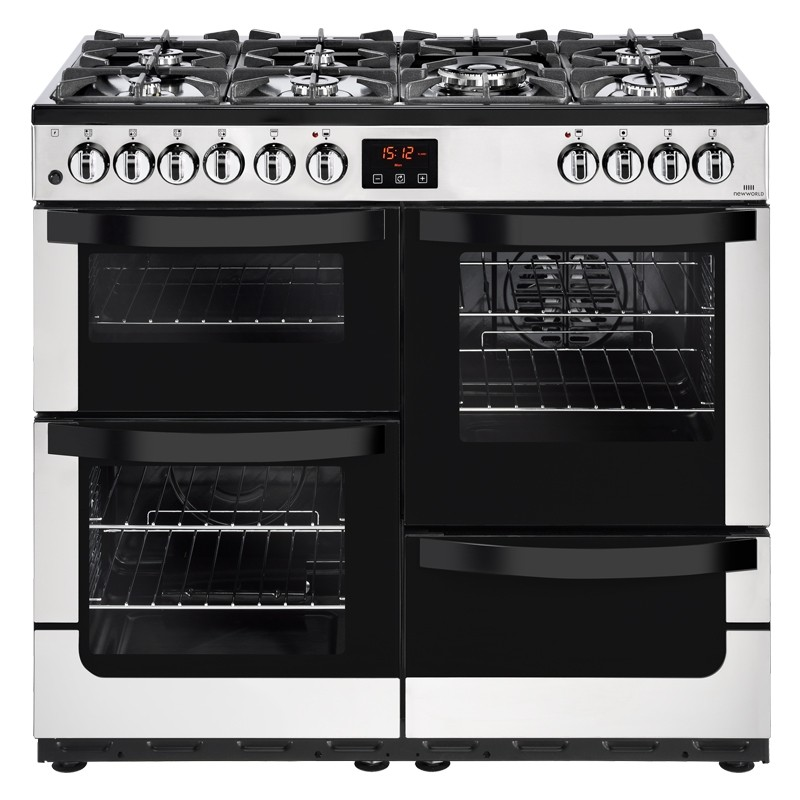 Kitchen Doors Uckfield: New World Vision 100cm Dual Fuel Range Cooker Stainless