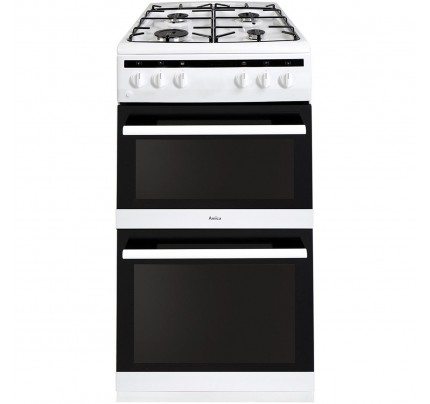 Amica AFG5500WH Gas Double Oven, 50cm, A Energy