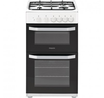 Hotpoint HD5G00KCW Catalytic, Gas Double Oven, 50cm, A+ Energy