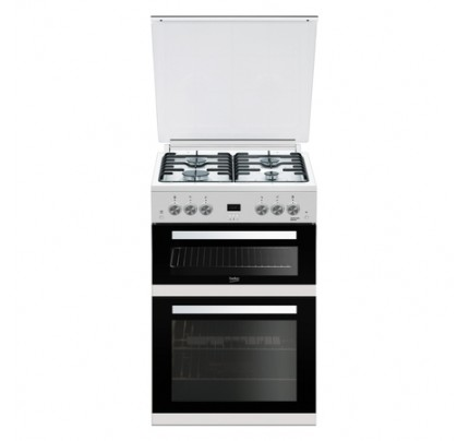 Beko EDG6L33W Gas Double Oven, 60cm, A+ Energy